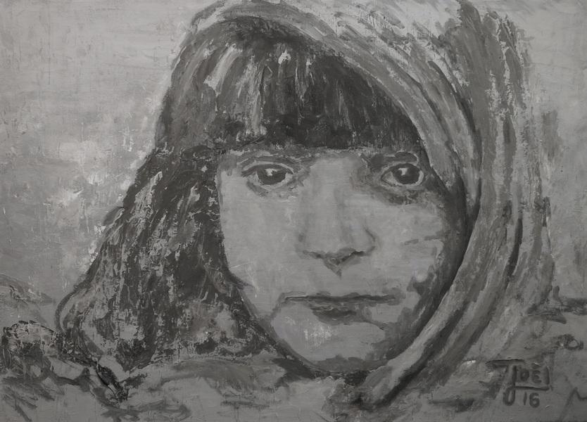 208) Flüchtlingskind (Öl auf Leinwand 70 x 50 cm)