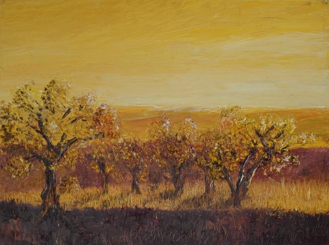 Landschaft im Morgengelb, 2016, 80x60cm, Öl auf Malkarton