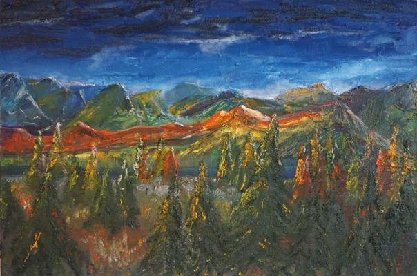 Berg und Wald im Abendlicht, 2016, 80x50cm, Öl auf Leinwand