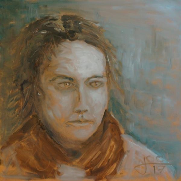 217) Die Malerin (Öl auf Leinwand, 40x40cm)