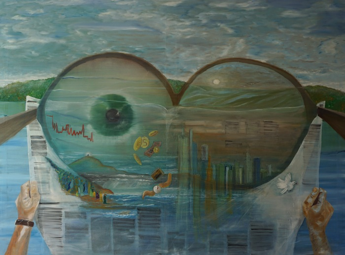 Hirnakrobatik der Zeit, 2016, 200x150cm, Öl auf Leinwand