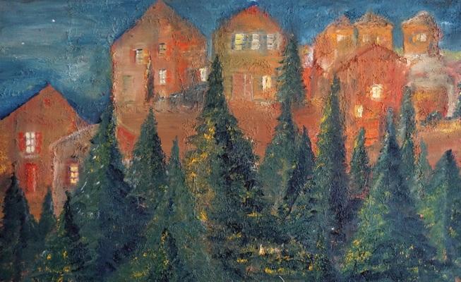 Häuserfront mit Wald, Öl auf Leinwand