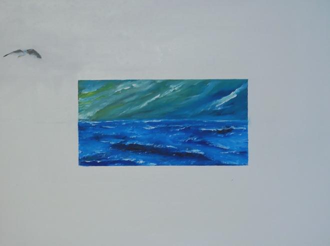 Wasservogel blickt auf das Meer, 2016, 80x60cm, Öl auf Leinwand