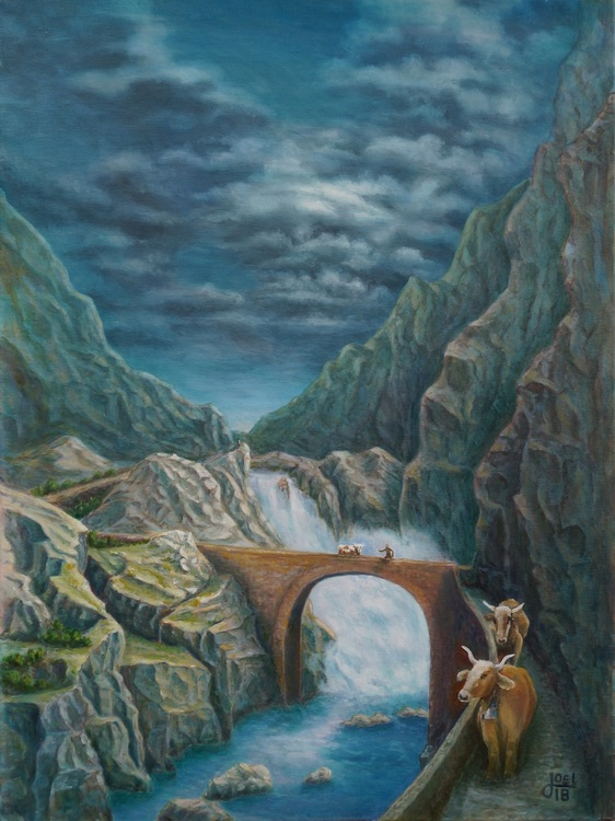 14) An der Teufelsbrücke (Öl auf Leinwand 60x80cm)