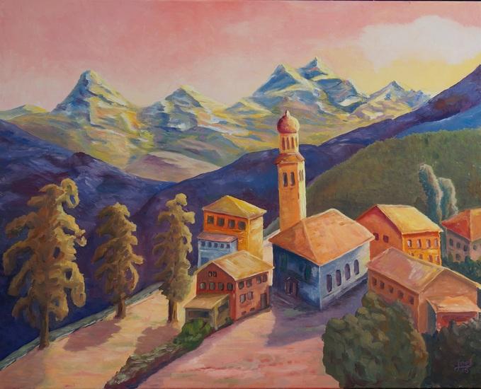 15) Bergolio (Fantasiebild inspiriert vom Bergell und Solio)(Öl auf Leinwand 100x80cm)
