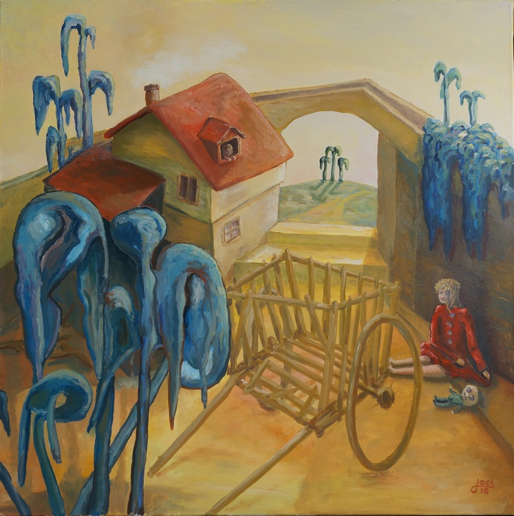 301) Das Haus an der Grenze (Öl auf Leinwand 100 x 100 cm)
