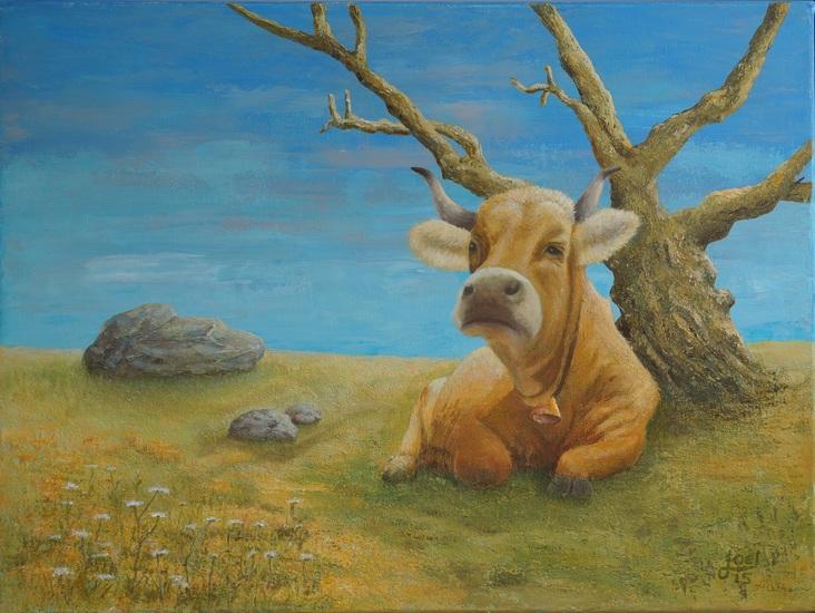 108) Der alte Baum und die Kuh (Acryl auf Leinwand 80 x 60 cm)