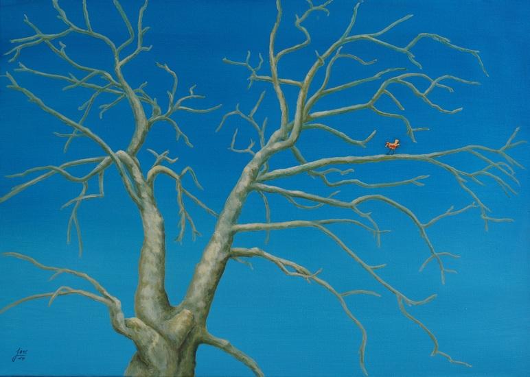 114) Der rote Vogel ind der Platane (Öl auf Leinwand, 70x50cm)