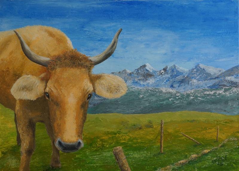 113) Engadinerkuh (Acryl auf Leinwand 70 x 50 cm)