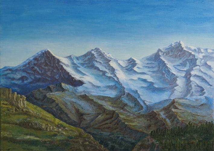 13) Eiger, Mönch und Jungfrau 2 (Öl auf Leinwand 70x50cm)