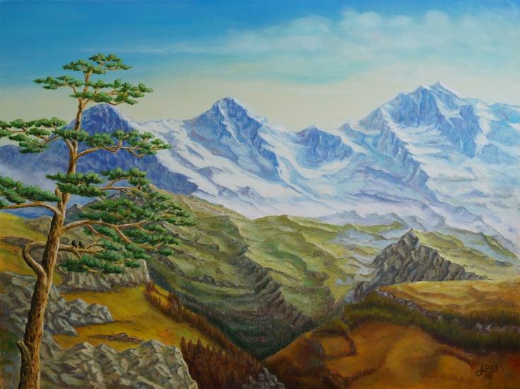 12) Eiger, Mönch und Jungfrau, mit Baum (Öl auf Leinwand 80x60cm)
