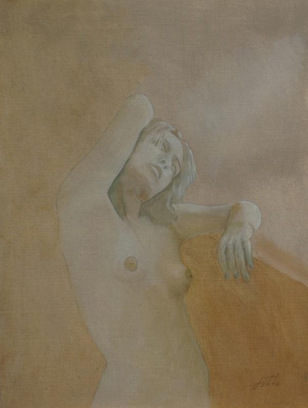 205) Frau am Fenster (Acryl auf Karton 40 x 50 cm)