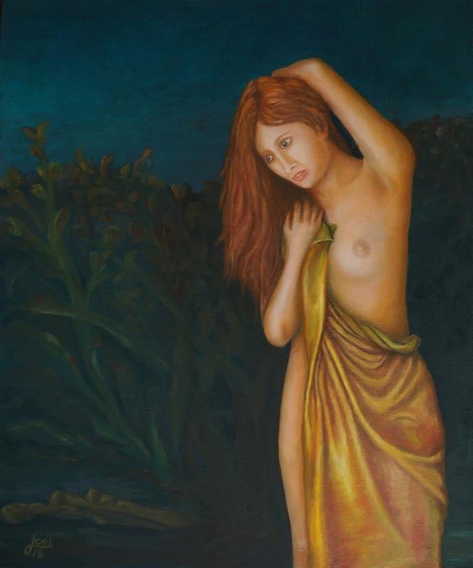 209) Die Badende (Öl auf Leinwand, 50x60cm)