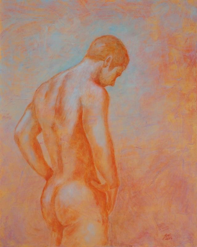 210) Männlicher Akt (Acryl auf MDF-Platte, 40x50cm)