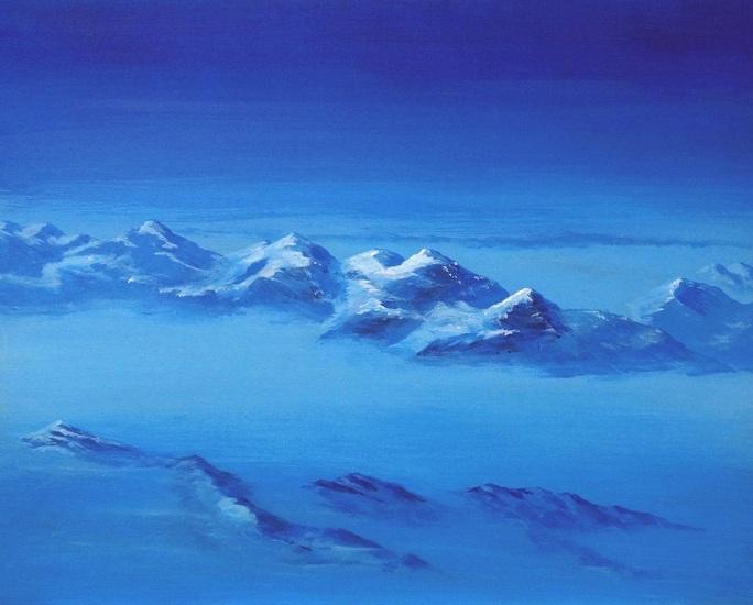 18) Nebel über den Alpen (Acryl auf Malerplatte 50x40cm)