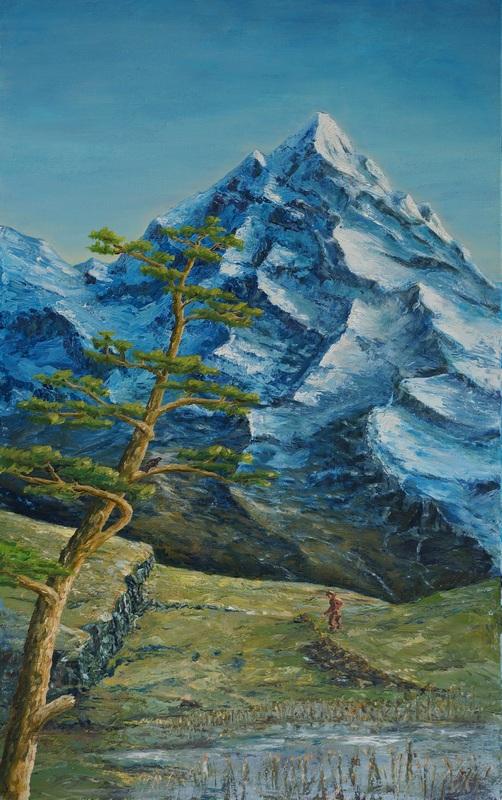 17) Piz Roseg mit Baum (Öl aif Leinwand 50x80cm)