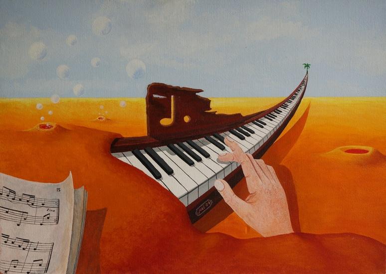 305) Die surreale Welt der Töne (Öl auf Malerpappe 60 x 50 cm)