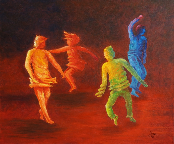 306) Tanz der Farben (Öl auf Leinwand 60 x 50 cm)