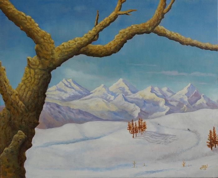 19) Winterspaziergang (Öl auf Leinwand 72x60cm)