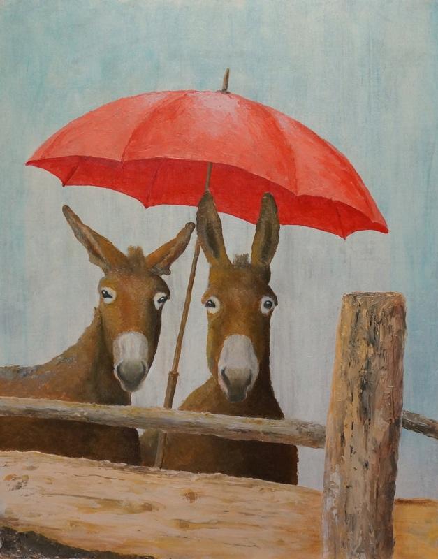 110) Zwei im Regen (Acryl auf MDF-Platte 50 x 60 cm)