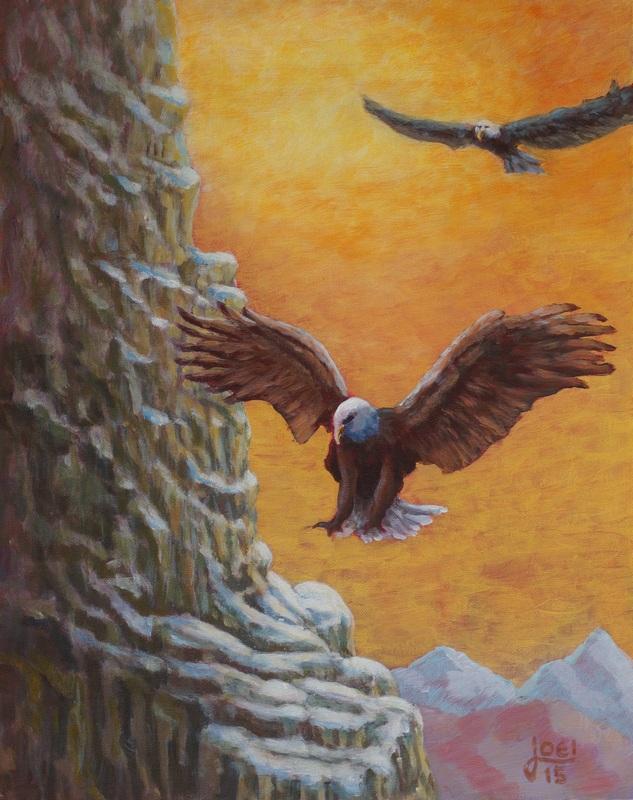 115) Adler (Öl auf MDF-Platte, 40x50cm)