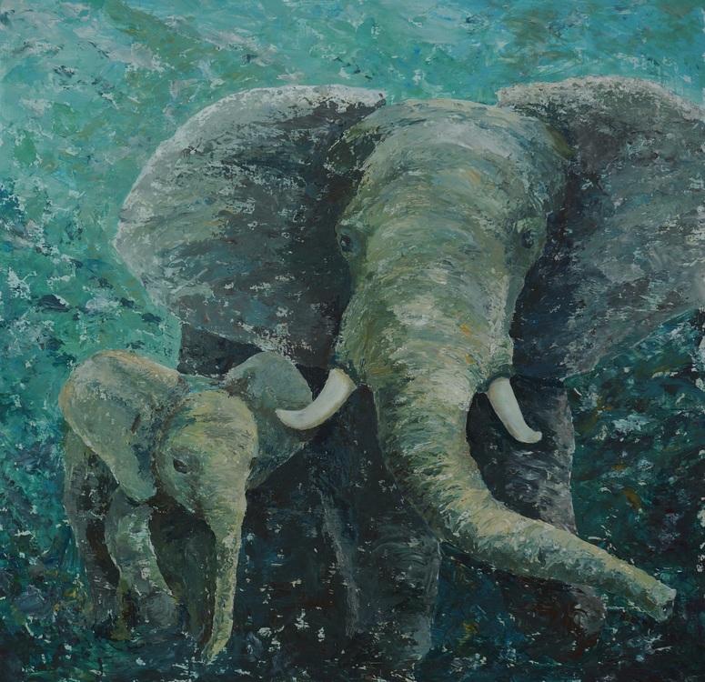 107) Der Elefant und sein Baby (Acryl auf Holzplatte 80 x 80 cm)