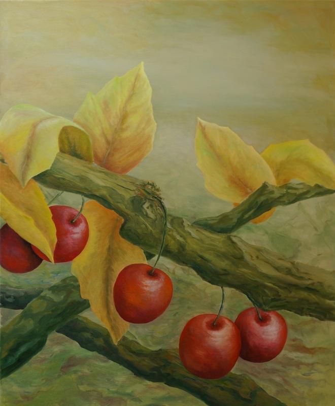 102) Kirschen in Nachbars Garten (Öl auf Leinwand 110 x 90 cm)