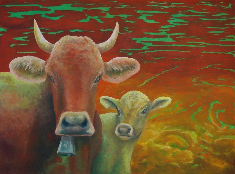 109) Kuh mit ihrem Kalb (Öl auf Leinwand 80 x 60 cm)