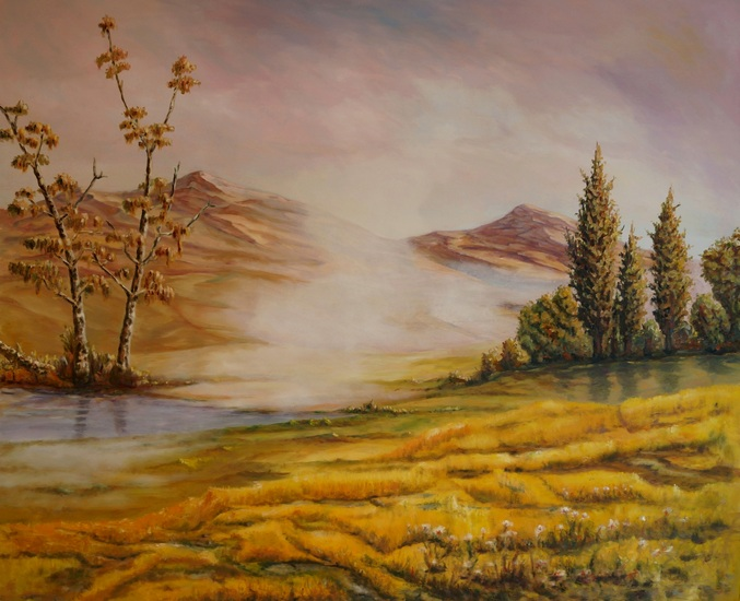 21) Nebel im Hochmoor (Öl auf Leinwand 110x90cm)