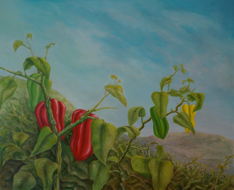 106) Paprikastaude (Öl auf Leinwand 110 x 90 cm)