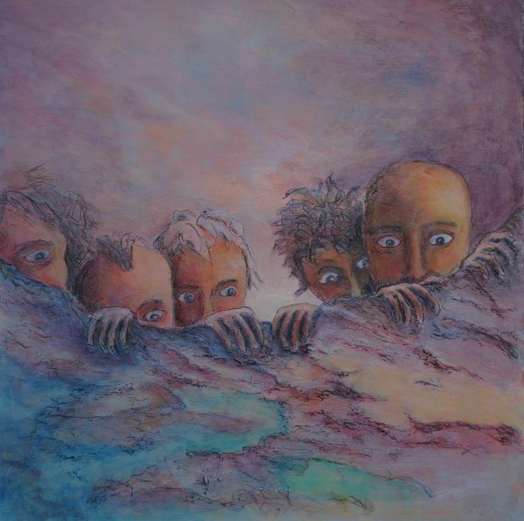 204) Der Blick über den Tellerrand (Öl auf Holzplatte 80 x 80 cm)