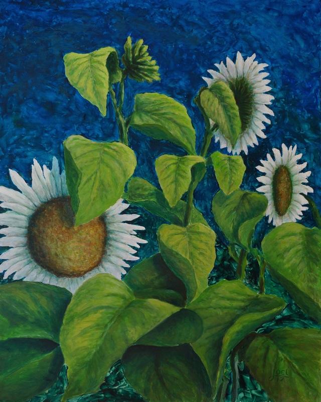 101) Weisse Sonnenblumen (Acryl auf Holzplatte 100 x 80 cm)
