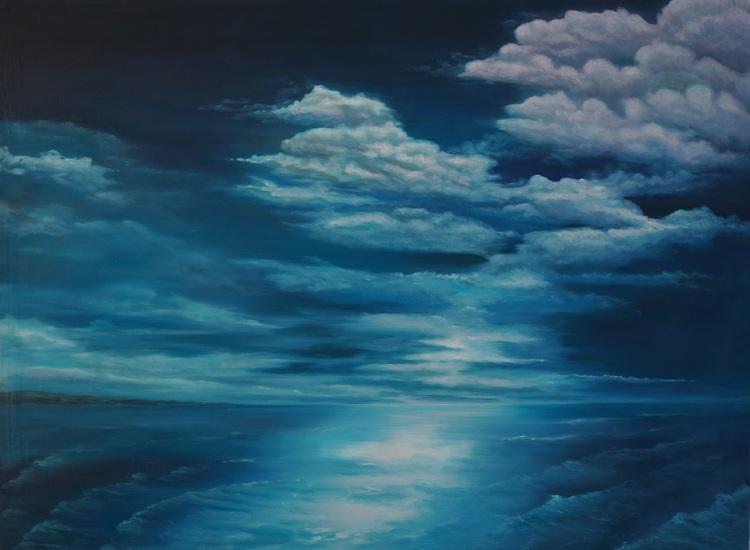 24) Wolkenstimmung mit Meer (Öl auf Leinwand 108x90cm)