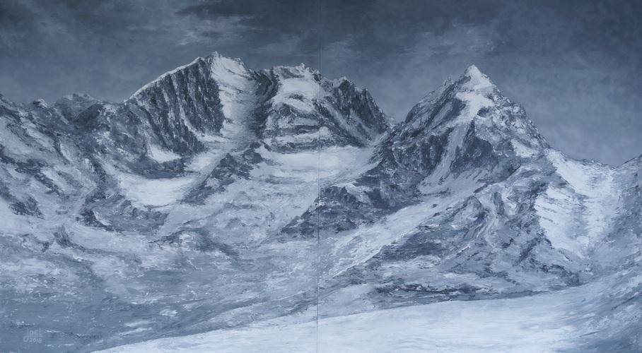 4) Piz-Bernina Piz-Roseg (Öl auf Holzplatten 160x90 (2 x 80x90))
