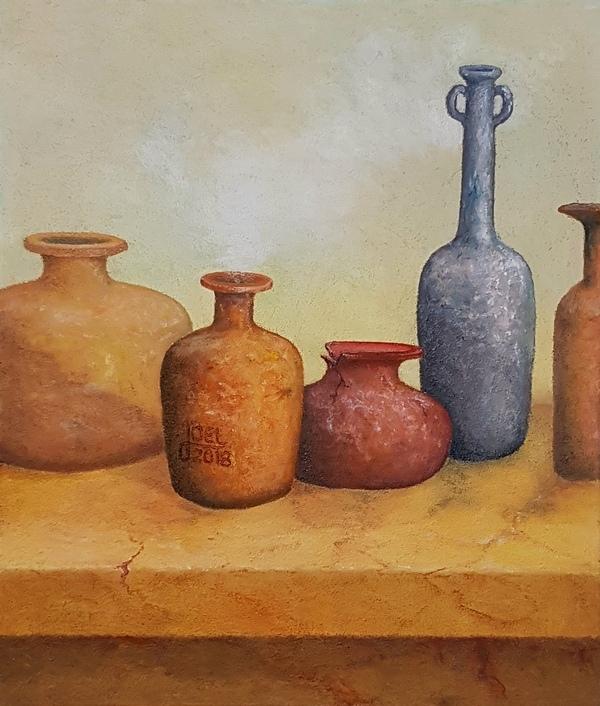 309)  Topfgalerie (Öl auf Leinwand, 50 x 60cm)