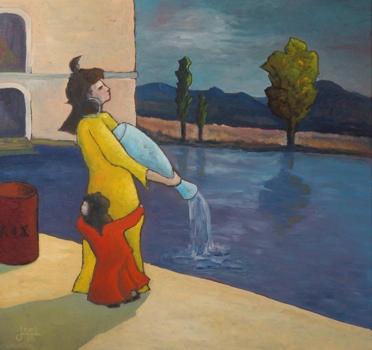 201)  Nora trägt Wasser in den Rhein (Öl auf Leinwand, 80 x 80cm)