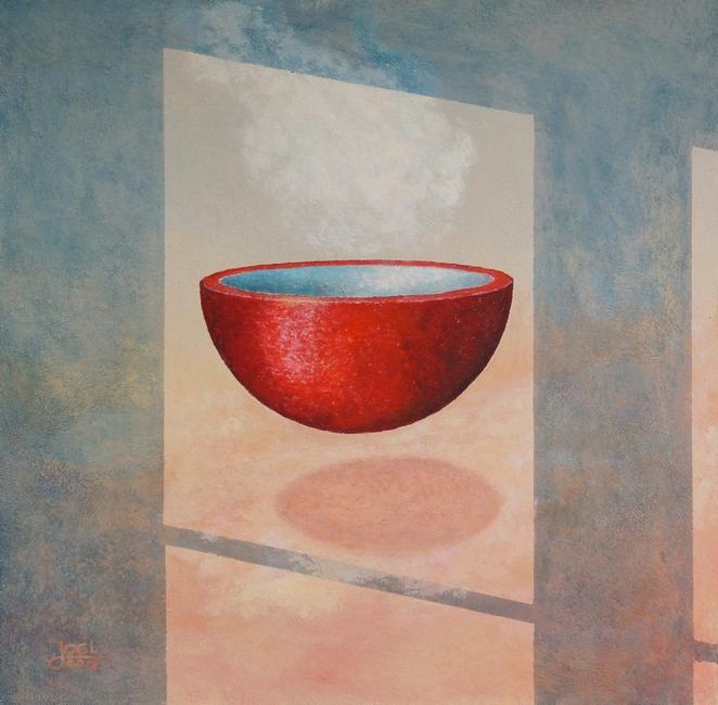 308)  Stille; Schwebende Schale  (Öl auf Holzplatte, 80 x 80cm)