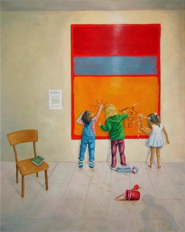 Der Museumsbesuch/Improving Rothko (Öl auf Leinwand 80x100cm)